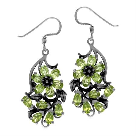 Natural Green Peridot 925 Sterling Silver Flower Leaf Dangle Hook Earrings
