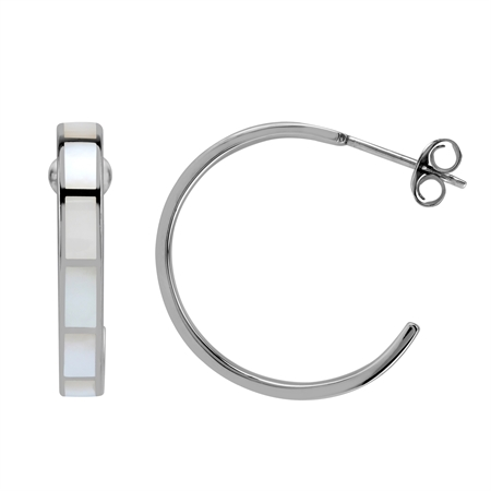 25 MM Inlay White Mother Of Pearl 925 Sterling Silver Flat C Hoop Earrings