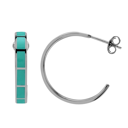 25MM Inlay Green Turquoise 925 Sterling Silver Flat C Hoop Earrings Jewelry