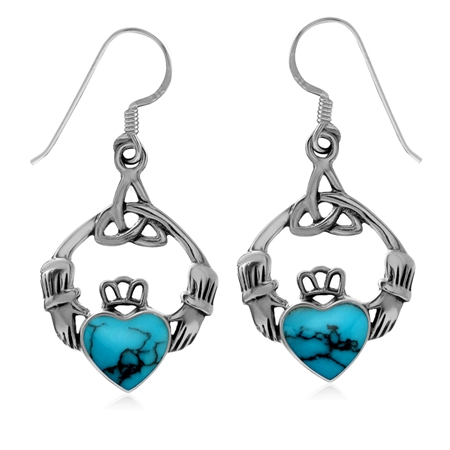 Created Turquoise with Matrix 925 Sterling Silver Triquetra Celtic Knot Claddagh Dangle Earrings