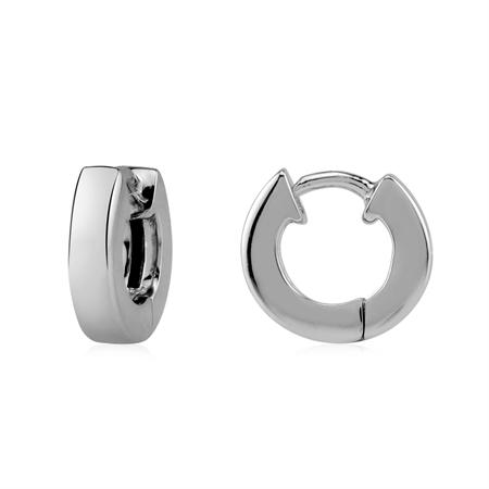 Petite 3X12MM 925 Sterling Silver White Gold Plated Huggie Hook Earrings