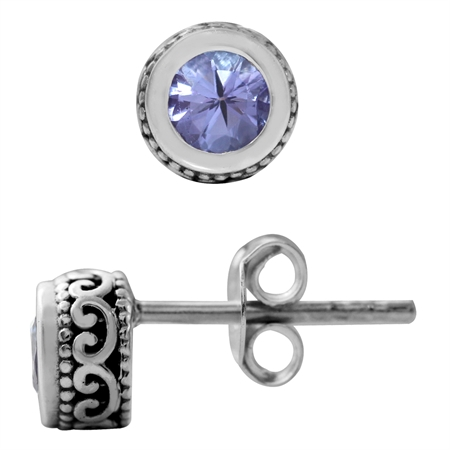4MM Petite Genuine Round Shape Tanzanite 925 Sterling Silver Filigree Stud Earrings