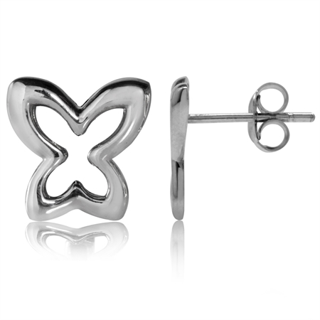 12MM White Gold Plated 925 Sterling Silver Butterfly Stud/Post Earrings