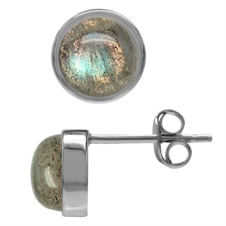 7MM Natural Labradorite White Gold Plated 925 Sterling Silver Stud/Post Earrings