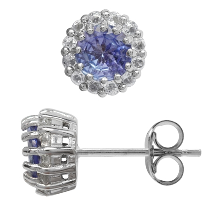 Petite Genuine Tanzanite & Topaz White Gold Plated 925 Sterling Silver Flower Cluster Stud Earrings