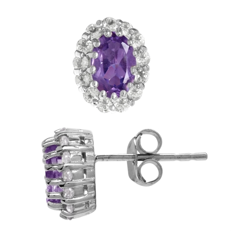 Petite Natural Amethyst & Topaz White Gold Plated 925 Sterling Silver Halo Stud/Post Earrings