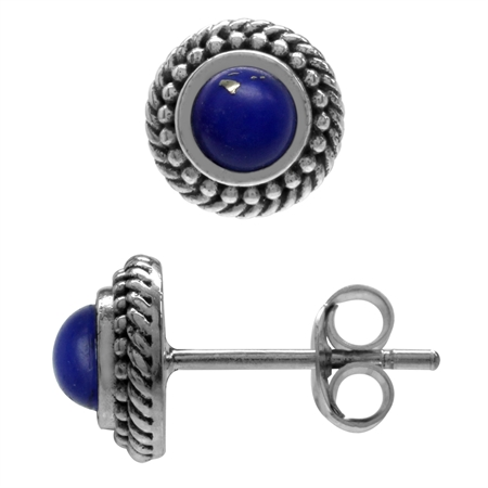 Created Blue Lapis 925 Sterling Silver Rope Bali/Balinese Style Stud Earrings