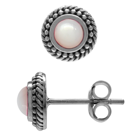 4MM Pink Mother Of Pearl Antique Finish 925 Sterling Silver Rope Balinese Style Stud Earrings