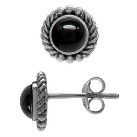 Created Black Onyx 925 Sterling Silver Rope Stud Earrings
