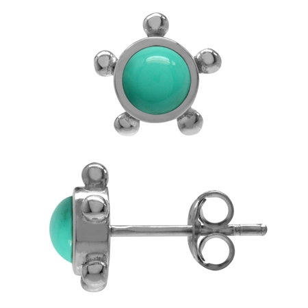 5MM Petite Created Green Turquoise 925 Sterling Silver Casual Stud Earrings