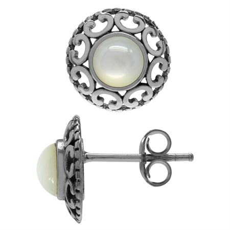 White Mother Of Pearl 925 Sterling Silver Filigree Stud/Post Earrings