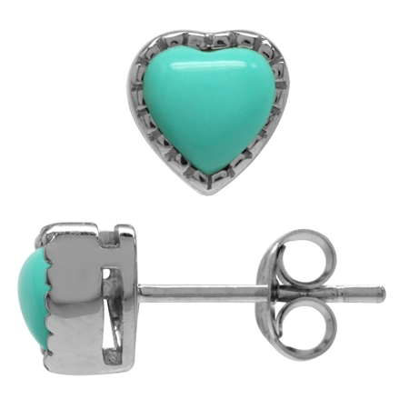 5MM Petite Created Heart Shape Green Turquoise White Gold Plated 925 Sterling Silver Stud Earrings
