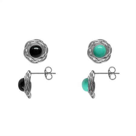 2-Pair Set Created Onyx & Green Turquoise 925 Sterling Silver Celtic Weave Knot Stud/Post Earrings