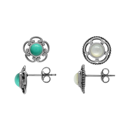 2-Pair Set White Mother Of Pearl & Created Turquoise 925 Sterling Silver Flower Stud/Post Earrings