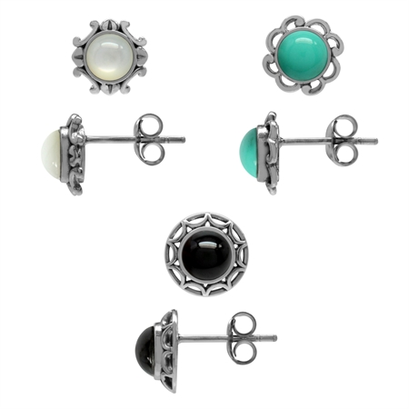 3-Pair Set Mother Of Pearl, Created Turquoise&Onyx 925 Sterling Silver Filigree Flower Stud Earrings