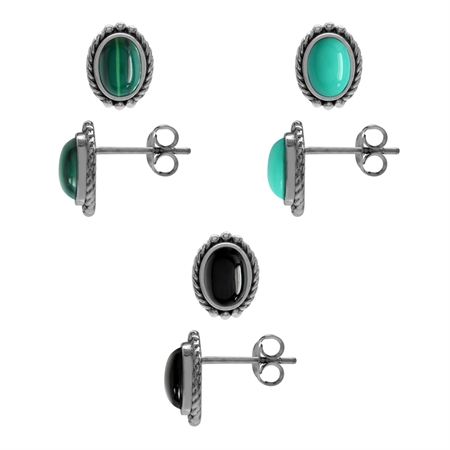 3-Pair Set Created Green Turquoise, Onyx & Malachite 925 Sterling Silver Rope Stud/Post Earrings