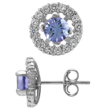 Genuine Tanzanite & White CZ Gold Plated 925 Sterling Silver Interchangeable Halo Stud Earrings