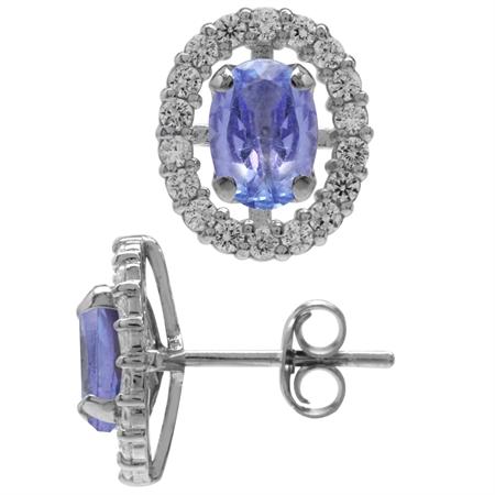 1.44ct. Genuine Tanzanite & White CZ 925 Sterling Silver Interchangeable Halo Stud Earrings