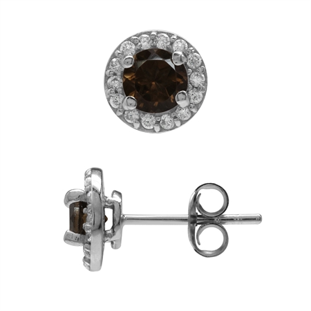 5MM Natural Smoky Quartz & White CZ Gold Plated 925 Sterling Silver Halo Stud Earrings