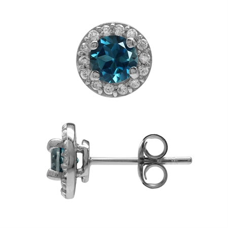 1.18ct. 5MM Genuine London Blue Topaz & White CZ Gold Plated 925 Sterling Silver Halo Stud Earrings