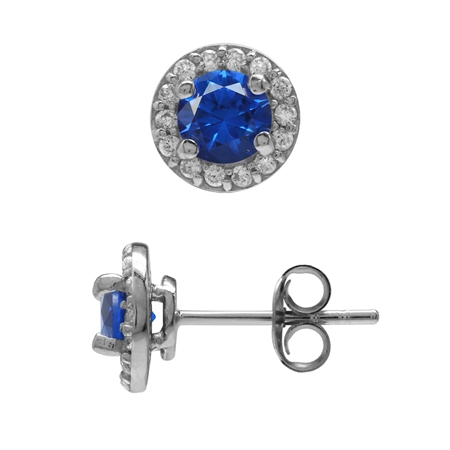 5MM Synthetic Sapphire Blue & White CZ Gold Plated 925 Sterling Silver Halo Stud Earrings