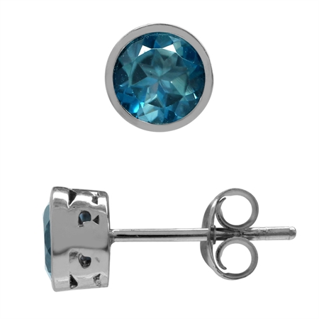 1.2ct. Petite Genuine London Blue Topaz White Gold Plated 925 Sterling Silver Filigree Stud Earrings