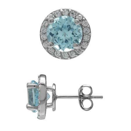 3.16ct. 7MM Genuine Round Shape Blue Topaz 925 Sterling Silver Halo Stud Earrings