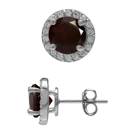 3.36ct. 7MM Natural Round Shape Garnet 925 Sterling Silver Halo Stud Earrings