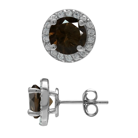 2.22ct. 7MM Natural Round Shape Smoky Quartz 925 Sterling Silver Halo Stud Earrings