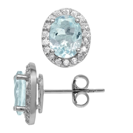 2.06ct. 8x6MM Genuine Oval Shape Blue Aquamarine 925 Sterling Silver Halo Stud Earrings