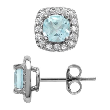 1.4ct. 5MM Petite Genuine Cushion Shape Blue Topaz 925 Sterling Silver Halo Stud Earrings