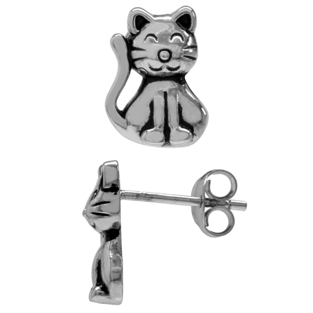 925 Sterling Silver Cat Pet Teens/Girls Casual Post/Stud Earrings
