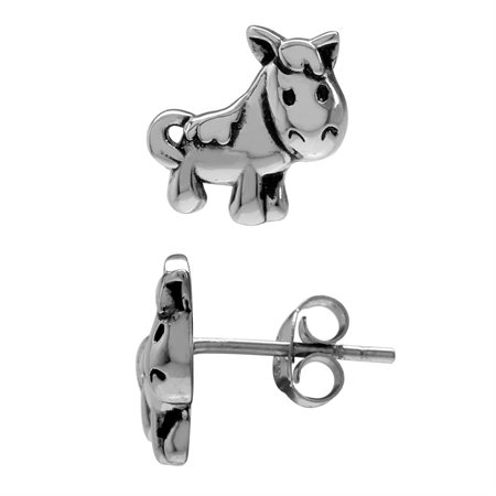 925 Sterling Silver Pony Horse Teens/Girls Casual Post/Stud Earrings