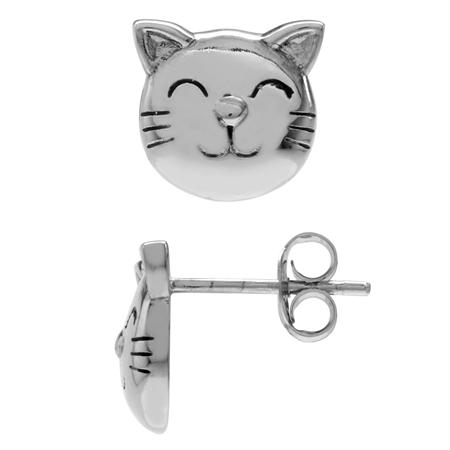 925 Sterling Silver Cat Pet Teens/Girls Casual Post/Stud Earrings