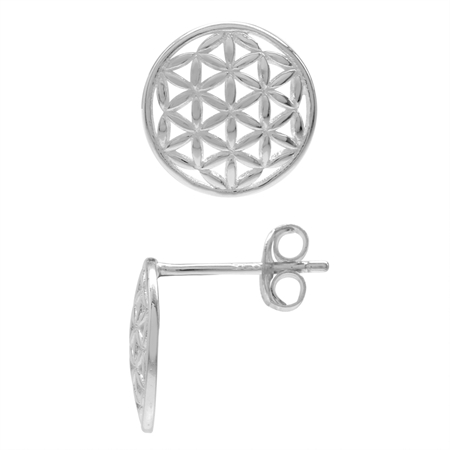 925 Sterling Silver Flower of Life Stud Earrings