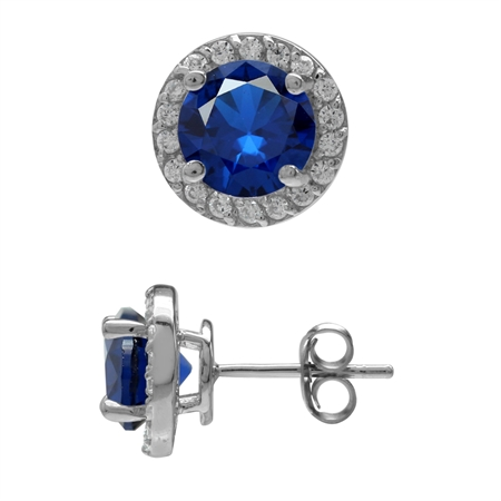 7MM Round Shape Synthetic Sapphire Blue & White CZ 925 Sterling Silver Halo Stud Earrings