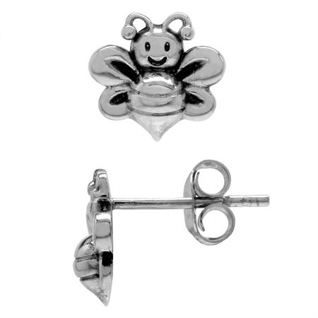Petite 925 Sterling Silver Bee Teens/Girls Casual Post/Stud Earrings