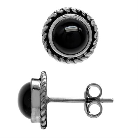 6MM Genuine Round Shape Black Onyx 925 Sterling Silver Rope Stud Earrings