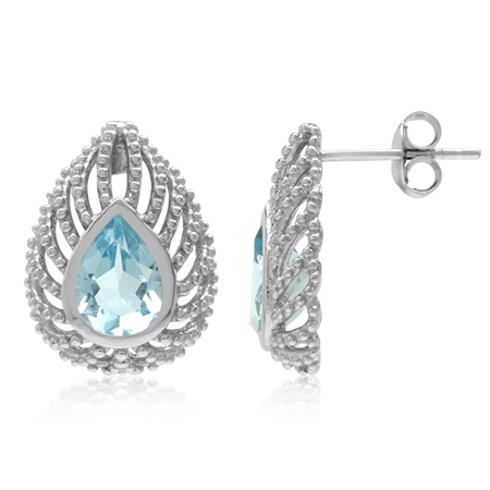 2.6ct. Pear Genuine Blue Topaz 925 Sterling Silver Filigree Peacock Inspired Drop Post Earrings