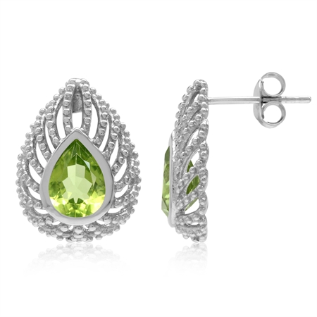 1.92ct. Pear Natural Peridot 925 Sterling Silver Filigree Peacock Inspired Drop Shape Post Earrings
