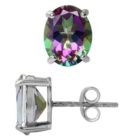 6.62ct. 10x8MM Oval Shape Mystic Fire Topaz White Gold Plated 925 Sterling Silver Stud Earrings