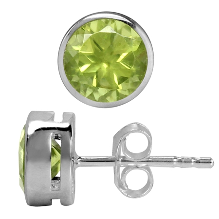 1.84ct. 6MM Natural Round Shape Peridot White Gold Plated 925 Sterling Silver Stud Earrings