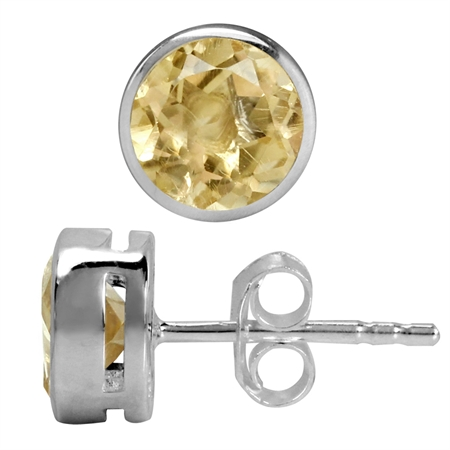 1.52ct. 6MM Natural Round Shape Citrine White Gold Plated 925 Sterling Silver Stud Earrings