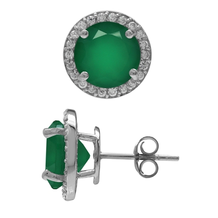 4.88ct. 9MM Natural Round Shape Emerald Green Agate 925 Sterling Silver Halo Stud Earrings
