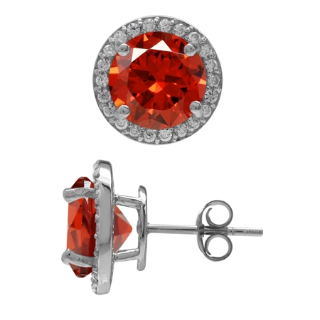 9MM Round Shape Orange & White CZ Gold Plated 925 Sterling Silver Halo Stud Earrings