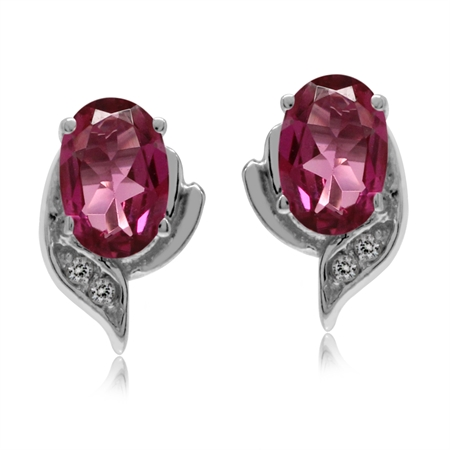 Petite Natural Pink Tourmaline & White Topaz 925 Sterling Silver Stud Earrings