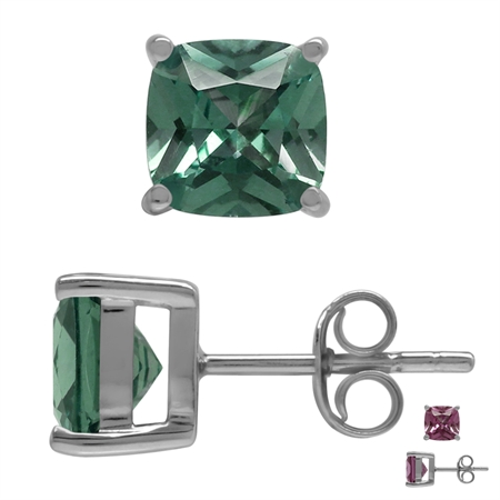 7MM Cushion Shape Simulated Color Change Alexandrite 925 Sterling Silver Stud Earrings