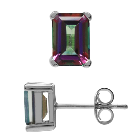 2.48ct. 7x5MM Octagon Shape Mystic Fire Topaz White Gold Plated 925 Sterling Silver Stud Earrings