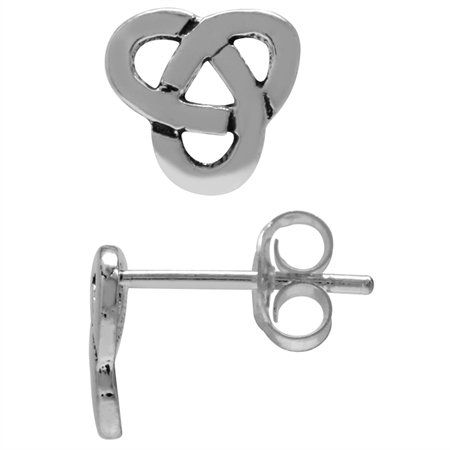 925 Sterling Silver Celtic Triquetra/Trinity Love Knot Casual Post/Stud Earrings