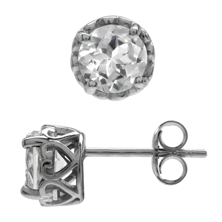 2.02ct. 6MM Genuine Round Shape White Topaz 925 Sterling Silver Victorian Style Stud/Post Earrings